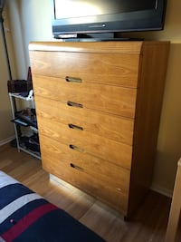 brown wooden 5-drawer tallboy dresser Oakland Park, 33309