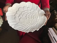 White ceramic peacock themed plate Laurel, 20708