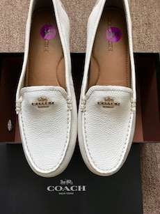 white Coach leather smoking loafers on box BRAND NEW