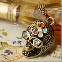Steampunk Adorned Skull Necklace null