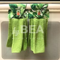 Two (2) foliage kitchen towels with pineapple buttons - green