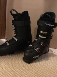 Black and red ski boots.