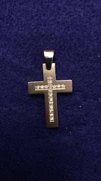 Stainless  silver cross pendant with cz stones