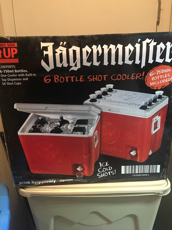 Used Jagermeister Cooler Ice Chest Holds 6 Bottles Shots Tap