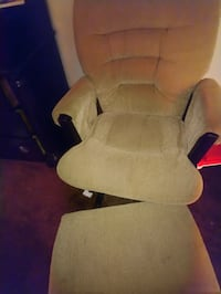 brown fabric padded glider chair and stool CALGARY