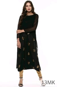 women's black and blue floral long sleeve dress Mumbai, 400011