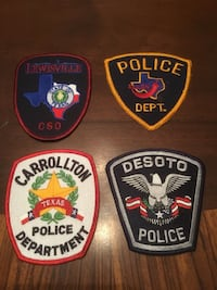Four miscellaneous dfw area collectible police patches, all 4 for $14 North Richland Hills, 76182