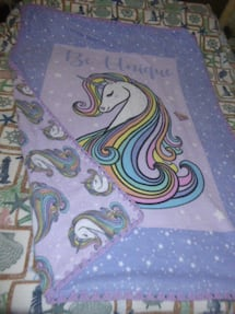 Unicorn blanket w/ crocheted edge Approx 4'x5' Sale 25.00