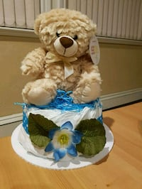 Mini Diaper Cake with Teddy Bear Topper Surrey, V3W 5T4