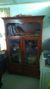brown wooden framed glass display cabinet Pelion, 29123