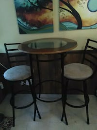 Glass top pub table with 2 chairs. Black and wood Bismarck, 71929