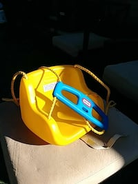 yellow and blue Little Tikes swing chair 1202 mi
