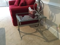 square gray metal base glass top trestle side table