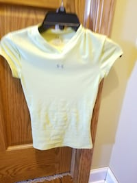 yellow Under Armour v-neck cap-sleeved shirt