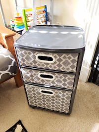 Gray trellis storage cart with 3 fabric drawers HERNDON