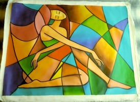 Unstretched Feminine Collage Painting