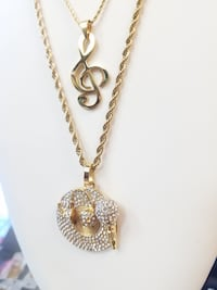 18K Gold Plated Rope Chains w/Music Pendants Layering Set