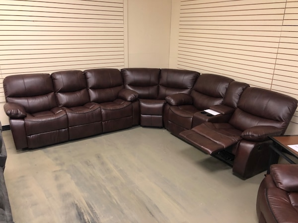 Sensational Brand New Genuine Leather Recliner Sectional Couch With Console Hot Sale Alphanode Cool Chair Designs And Ideas Alphanodeonline