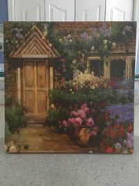 House with flower garden painting