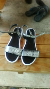 black-and-gray snakeskin leather open'toe d'orsay Mary Jane strap ankle strap flats Martinsburg, 25404