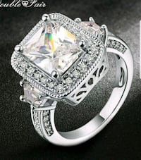 $16 NEW sz 9 silver plated CZ ring  Destin, 32541
