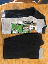 Childs Minecraft Pajama 2Pc. Set Size 12,Great Cond. No Stains/ Rips