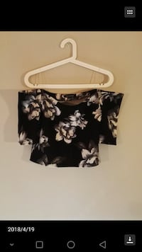black and white floral cold-shoulder crop top Calgary, T3K 3Y3