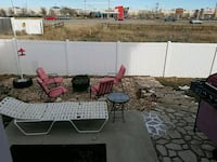 Red patio chairs, fire pit, grill, lawn bed (2) 1446 mi