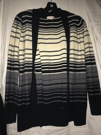 gray white and black stripes long-sleeved cardigan