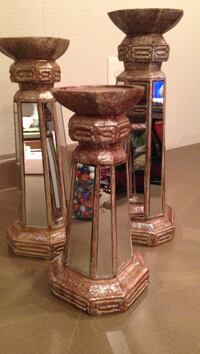 """Set of 3 candle sconces.  Tallest is 14"""".   Display as is or add candles.  They reflect light beautifully! Madison, 53718"""