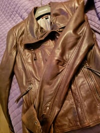 brown leather zip-up jacket Toronto, M9W 3Z8