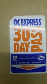 OC express 30 day bus pass Irvine, 92614