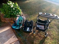 car seat with base and stroller