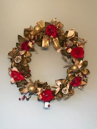red,green,and gold Roses wreath