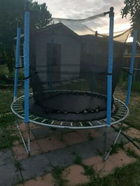 black and blue trampoline with enclosure Mississauga, L5W 1Y6