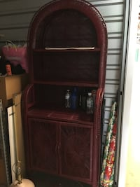 Wicker shelving unit.  Can be repainted any color