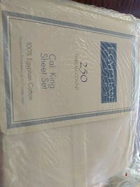 California King Egyptian cotton sheet set. New in package