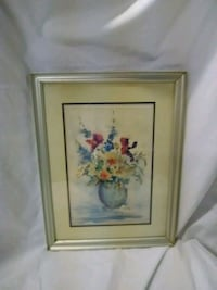 Flower Watercolor picture in white wood frame Hagerstown, 21740