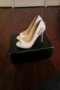 pair of white leather peep toe platform stilettos Indian Head, 20640