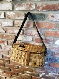 Old looking fishing basket for decor