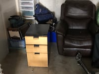 Black and blue leather office rolling chair