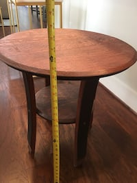 Wine barrel stave side table, stained wood Houston, 77008