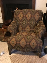 brown and black floral fabric sofa chair BURKE