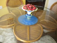 Unique Rattan and Glass Dining/Kitchen Table and Chairs Conway