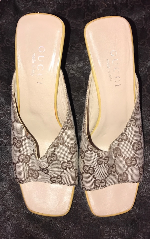 da7ce0332 Used Pair of gray Gucci monogram printed heeled slide sandals for sale in New  York - letgo