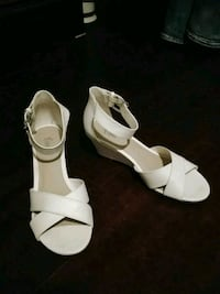 pair of white leather open-toe wedge sandals 879 mi