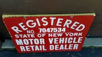 Rare Red NYS DEALER SIGN
