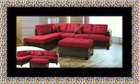 Red sectional with ottoman Bowie