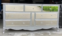 Custom Mirrored Dresser with Crystal Nobs