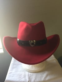 Red Cowgirl Hat - wool - hat made in USA Lancaster, 93536